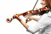 image of violin  - Violinist playing violin isolated on white - JPG