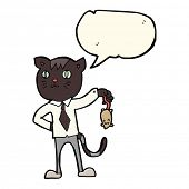 foto of dead mouse  - cartoon business cat with dead mouse with speech bubble - JPG