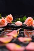 stock photo of stone-therapy  - Still life with orange rose  - JPG