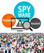 stock photo of malware  - Spyware Hacking Phishing Malware Virus Concept - JPG