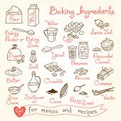 image of baked raisin cookies  - Set drawings of baking ingredients for design menus - JPG