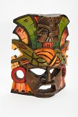 picture of anaconda  - Indian Mayan Aztec wooden mask with anaconda and jaguar isolated on white background - JPG