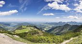 stock photo of bavaria  - Panorama from mountain Jaegerkamp with view to Schliersee in the Alps in Bavaria Germany - JPG