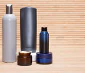 stock photo of cosmetic products  - Laconic set of skin and body care cosmetics for men - JPG