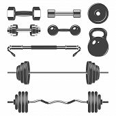 picture of weight lifter  - Set of sign weights for fitness or gym design elements - JPG