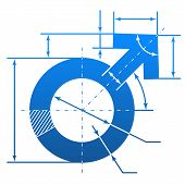 stock photo of erectile dysfunction  - Element of blueprint drawing in shape of man sign - JPG
