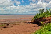 stock photo of tide  - View at Burncoat Head Park on the Bay of Fundy in Nova Scotia - JPG
