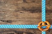 pic of pretzels  - Pretzel on old wooden background for Oktoberfest - JPG