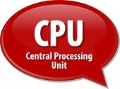 foto of cpu  - Speech bubble illustration of information technology acronym abbreviation term definition CPU Central Processing Unit - JPG