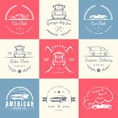 Set Of Vintage Badges Car Club And Garage poster