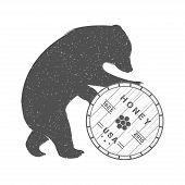 pic of bear  - Vintage Illustration bear with barrel of honey  - JPG