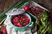 pic of chives  - Beetroot soup with chives and radishes on the boards - JPG