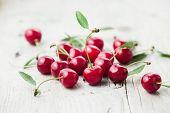 image of cherries  - Fresh organic sour cherry - JPG