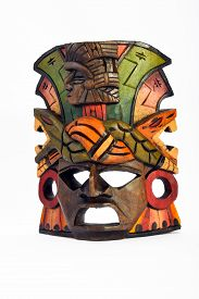 pic of anaconda  - Indian Mayan Aztec wooden mask with anaconda and jaguar isolated on white background - JPG