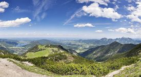 image of bavaria  - Panorama from mountain Jaegerkamp with view to Schliersee in the Alps in Bavaria Germany - JPG
