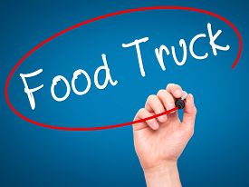 pic of food truck  - Man Hand writing Food Truck with black marker on visual screen - JPG