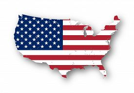 stock photo of usa map  - High resolution map of the USA with american flag - JPG