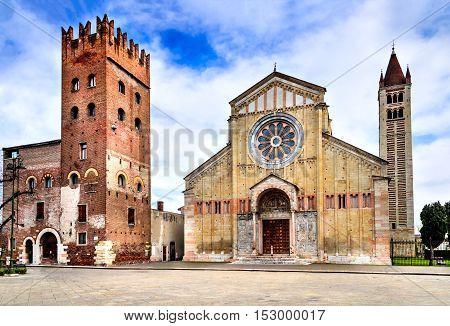 Verona Italy - Facade and bell tower of the Church of San Zeno.