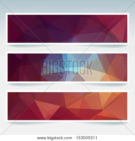 Vector Banners Set With Polygonal Abstract Brown, Blue, Orange Triangles. Abstract Polygonal Low Pol