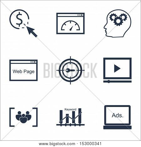 Set Of Marketing Icons On Questionnaire, Digital Media And Keyword Marketing Topics. Editable Vector