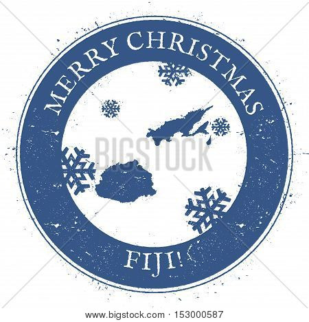 Fiji Map. Vintage Merry Christmas Fiji Stamp. Stylised Rubber Stamp With County Map And Merry Christ