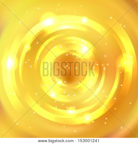 Vector Yellow Round Frame. Shining Circle Banner. Glowing Spiral. Vector Illustration