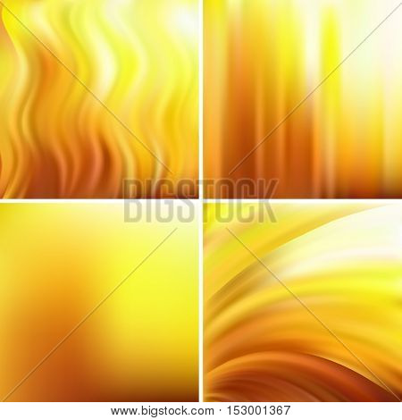Abstract Vector Illustration Of Yellow Background With Blurred Light Lines. Set Of Four Square Backg