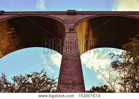 Viaduct on river Don near Conisbrough used color magenta effect