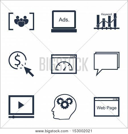 Set Of Seo Icons On Digital Media, Conference And Ppc Topics. Editable Vector Illustration. Includes