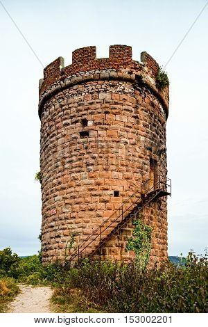 Majestic Medieval Castle Haut-ribeaupierre On The Top Of The Hill