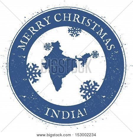 India Map. Vintage Merry Christmas India Stamp. Stylised Rubber Stamp With County Map And Merry Chri