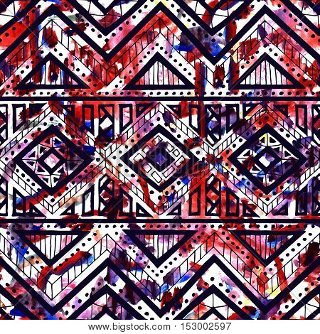 Bright seamless pattern. Watercolor texture. Ethnic and tribal motifs. Geometric ornament. Textile print. White, black, blue and red colors. Vector illustration.