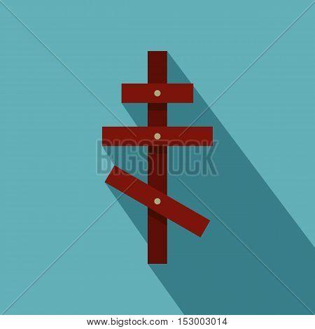 Orthodox cross icon. Flat illustration of orthodox cross vector icon for web design