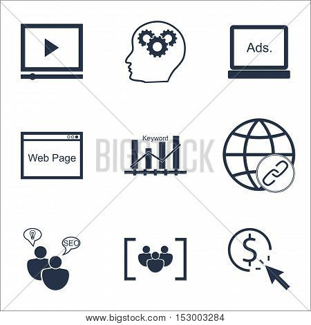Set Of Marketing Icons On Brain Process, Digital Media And Ppc Topics. Editable Vector Illustration.