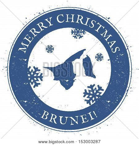 Brunei Darussalam Map. Vintage Merry Christmas Brunei Darussalam Stamp. Stylised Rubber Stamp With C