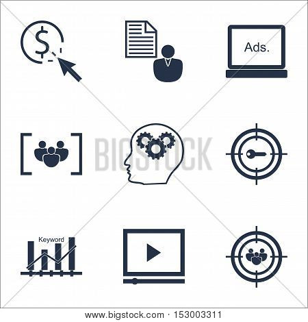 Set Of Marketing Icons On Report, Focus Group And Ppc Topics. Editable Vector Illustration. Includes