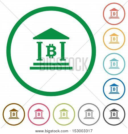 Bitcoin bank flat color icons in round outlines