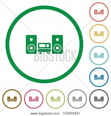 Stereo system flat color icons in round outlines