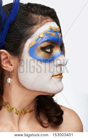 Profile Of Women With Mask