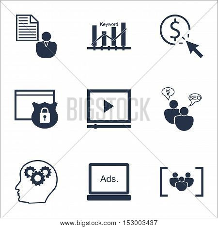 Set Of Marketing Icons On Ppc, Questionnaire And Video Player Topics. Editable Vector Illustration.