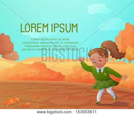 Autumn background with funny smiling girl.Autumn sale poster, concept, flyer. Cartoon character.Vector illustration