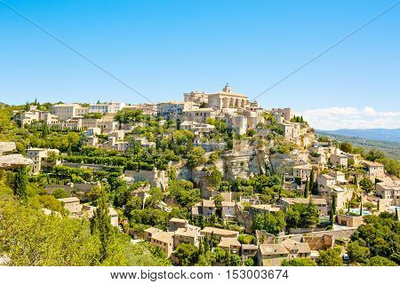 View on Gordes, a small typical town in Provence, France. Beautiful village, with view on roof and landscape
