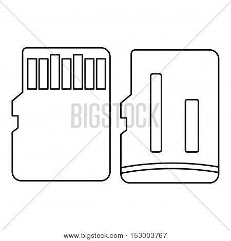 Both sides of SD memory card icon. Outline illustration of SD memory card vector icon for web