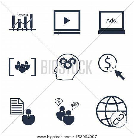 Set Of Seo Icons On Ppc, Video Player And Connectivity Topics. Editable Vector Illustration. Include