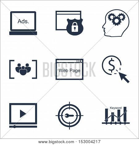 Set Of Advertising Icons On Digital Media, Security And Video Player Topics. Editable Vector Illustr
