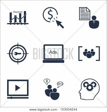 Set Of Marketing Icons On Brain Process, Keyword Marketing And Questionnaire Topics. Editable Vector