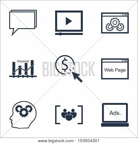 Set Of Seo Icons On Brain Process, Video Player And Website Performance Topics. Editable Vector Illu