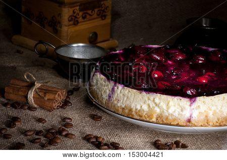 Homemade Cheesecake With Cherry Jam