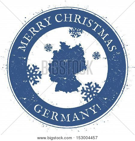Germany Map. Vintage Merry Christmas Germany Stamp. Stylised Rubber Stamp With County Map And Merry