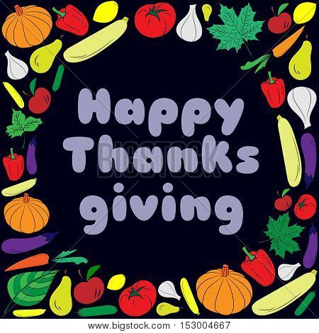Happy thanksgiving day card with blue text. Vector Illustration